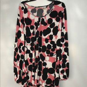 Coral/Pink, Black and White Blouse, Sz XL